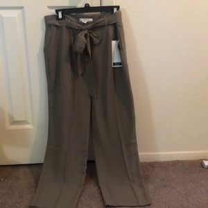 Contemporary tapered olive green pants